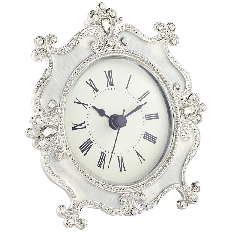 "Corboux Ivory 5"" Wide Table Clock more views"