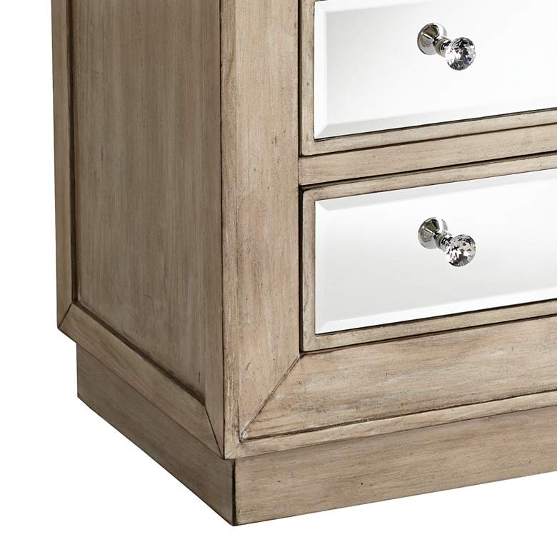 "Gabriella 32"" Wide Mirrored and Oak Wood Drawer Accent Chest more views"