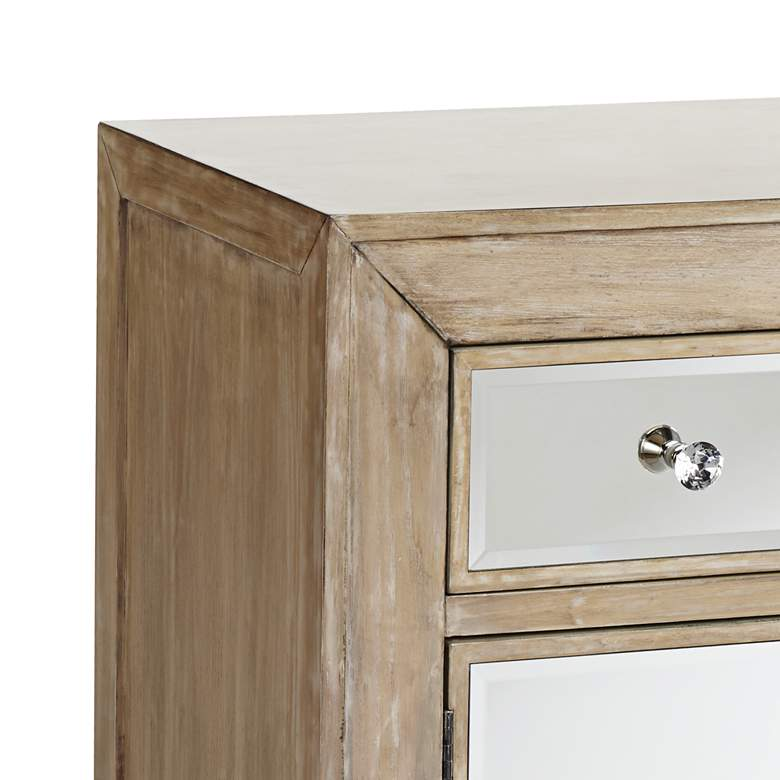 "Gabriella 40"" Wide Mirrored and Oak Wood Accent Chest more views"