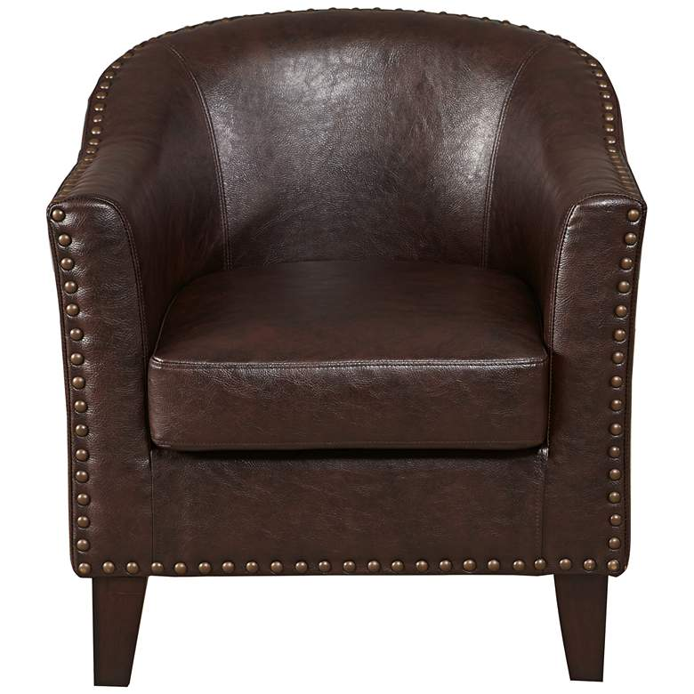 Collins Vintage Brown Faux Leather Accent Chair more views