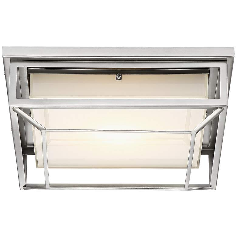 "Radcliffe 12"" Wide Matte Nickel LED Outdoor Ceiling Light more views"