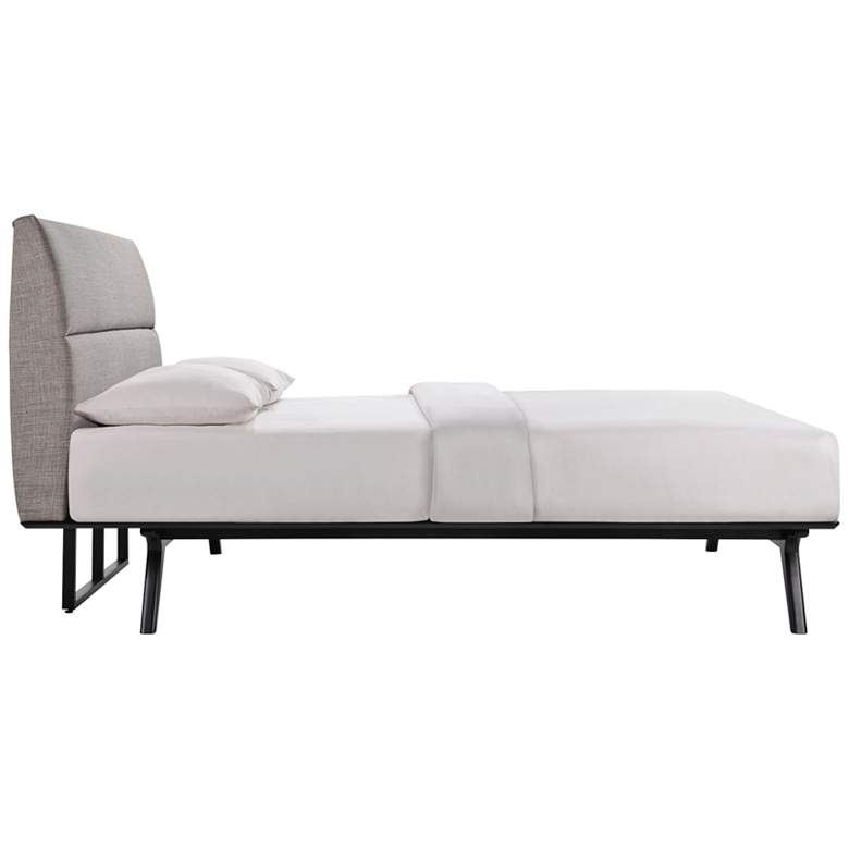 Addison Gray Fabric Black Platform Queen Bed more views