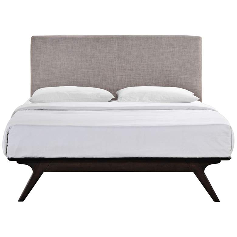 Tracy Gray Fabric Cappuccino Queen Platform Bed more views