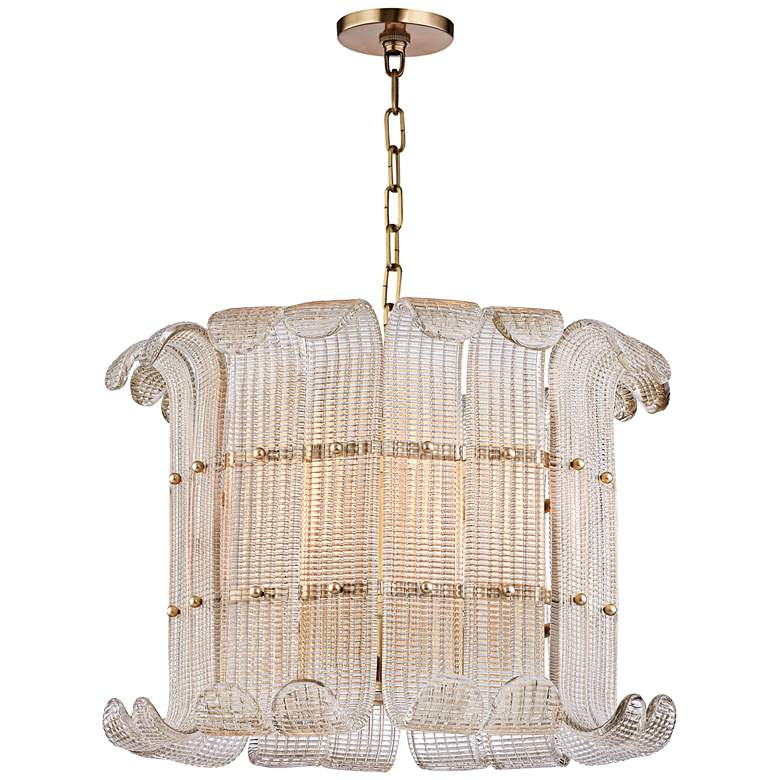 "Hudson Valley Brasher 22 3/4""W 8-Light Aged Brass Chandelier more views"