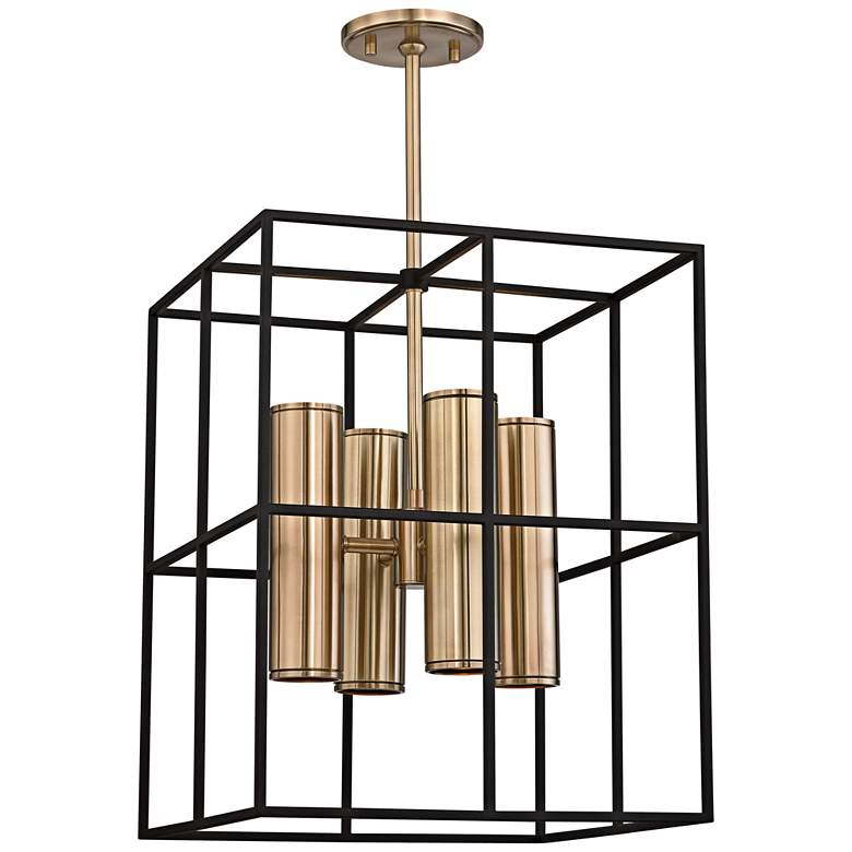 "Lagrange 18"" Wide Aged Brass and Black Pendant Light more views"