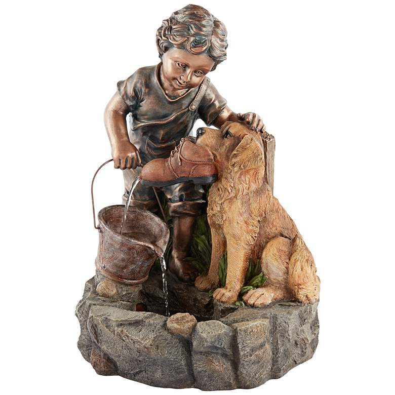 "Northport 24 3/4""H Boy Plays with Dog Outdoor Fountain more views"