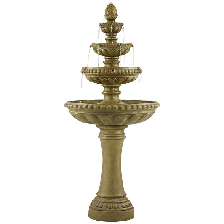 """Sag Harbor 66"""" High Stone 4-Tier LED Outdoor Floor Fountain more views"""