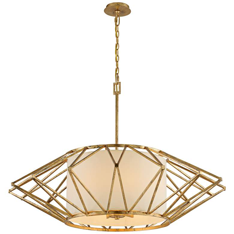 "Calliope 42"" Wide Rustic Gold Leaf Pendant Light more views"
