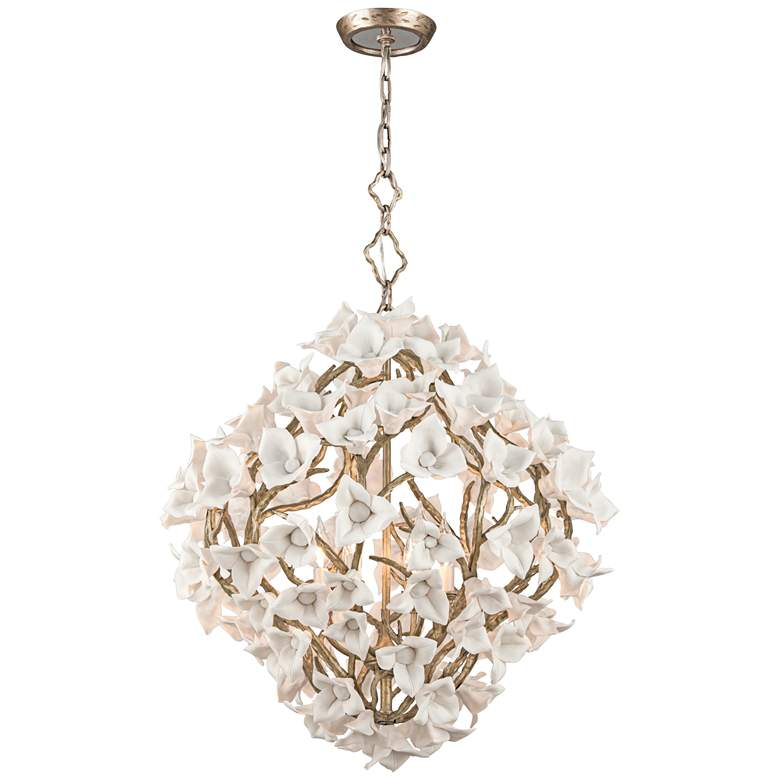 "Lily 26 1/4"" Wide Enchanted Silver Leaf Pendant Light more views"