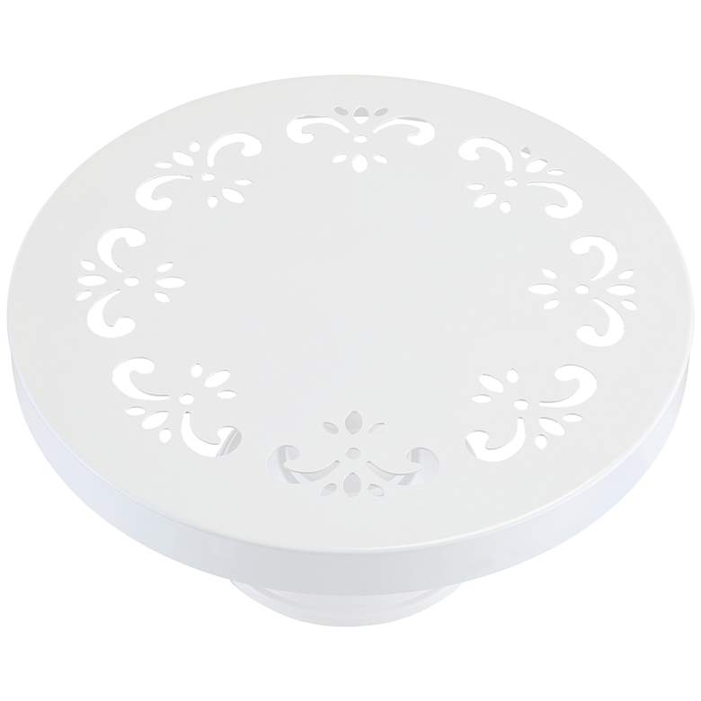 "York White 10"" Round Single Tier Cake Stand more views"