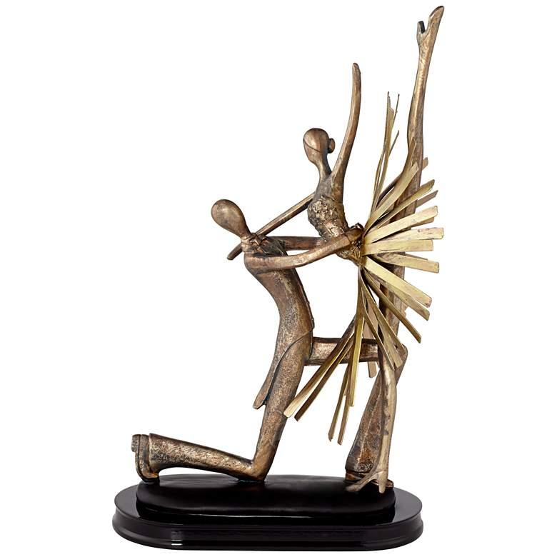 """Dance Partners 14 1/2"""" High Gold-Bronze Sculpture more views"""