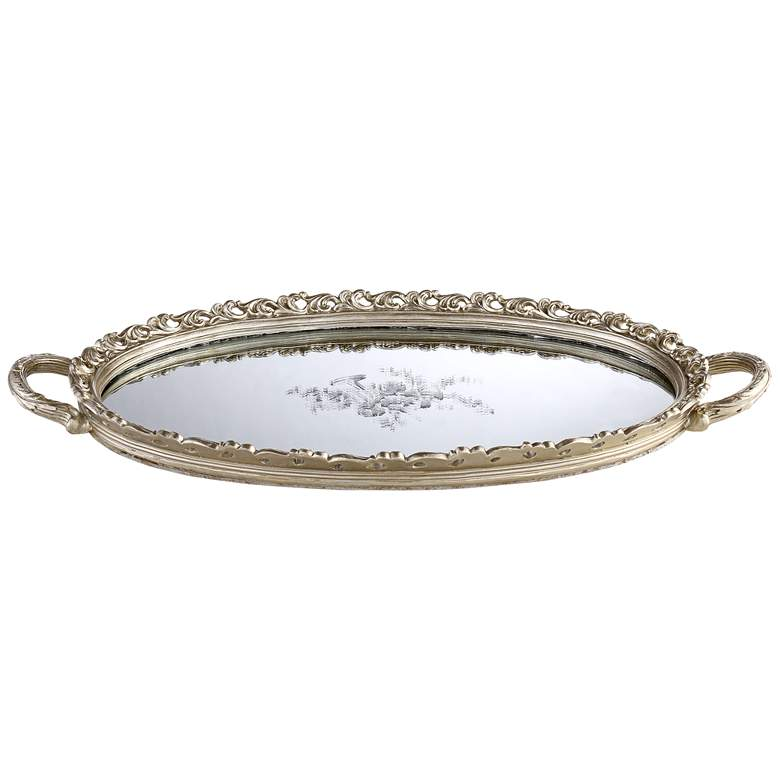 Bellington Silver Floral Large Decorative Mirrored Tray more views