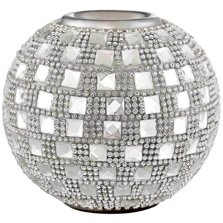 "Candelo 4 1/4"" High Crystal Beaded Tealight Candle Holder more views"
