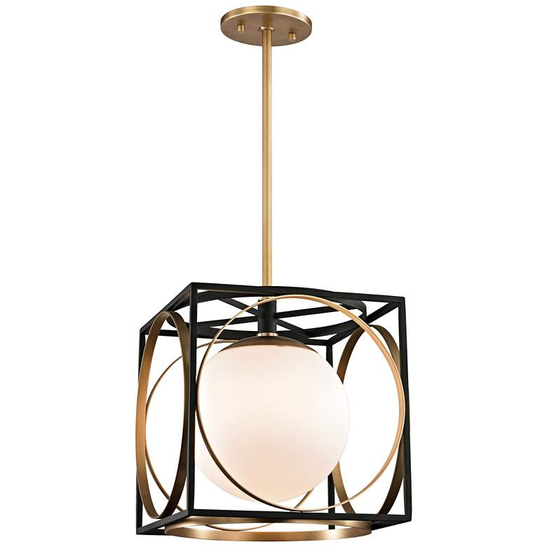 "Wadsworth 13 1/2"" Wide Aged Brass and Black Pendant Light more views"