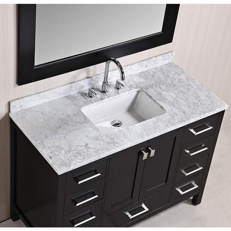 "London 48"" Marble Espresso 9-Drawer Single Sink Vanity Set more views"