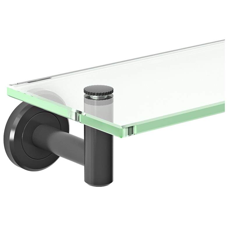 "Gatco Latitude II Matte Black 20 1/4"" Wide Glass Shelf more views"
