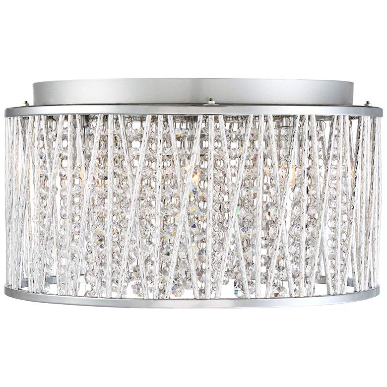 "Possini Woven Laser Cut 16"" Wide Chrome Ceiling Light more views"