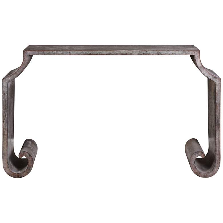 "Agathon 54"" Wide Acid-Washed Zinc Scroll Console Table more views"