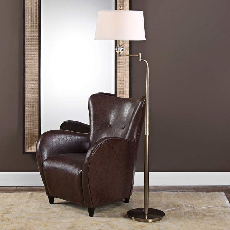 Uttermost Melini Tapered Steel Swing Arm Floor Lamp more views