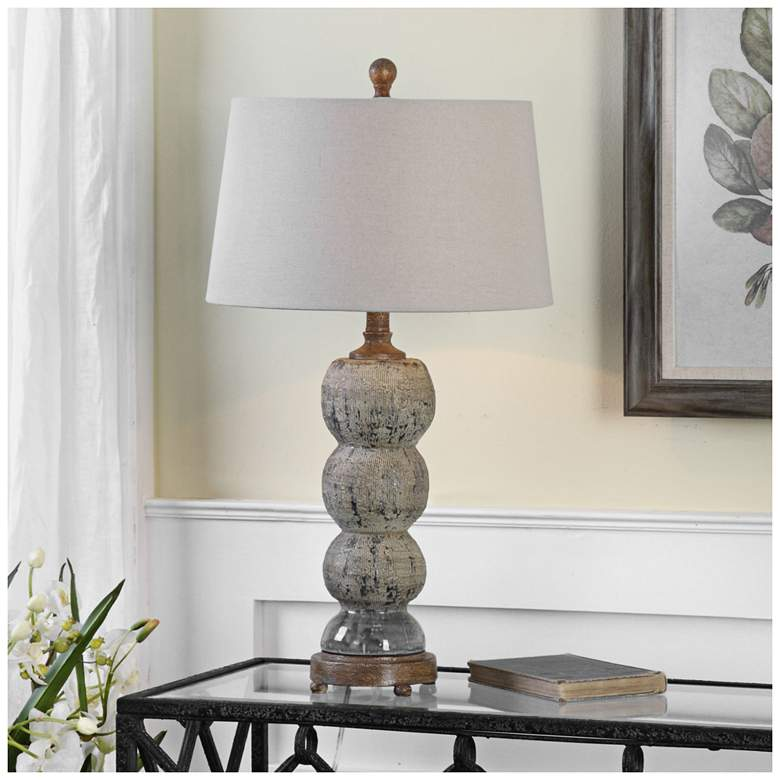 Uttermost Amelia Blue-Gray Textured Ceramic Table Lamp more views