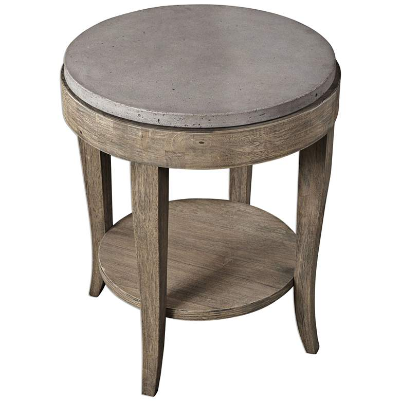 "Deka 24"" Wide Birch Wood and Concrete Accent Table more views"