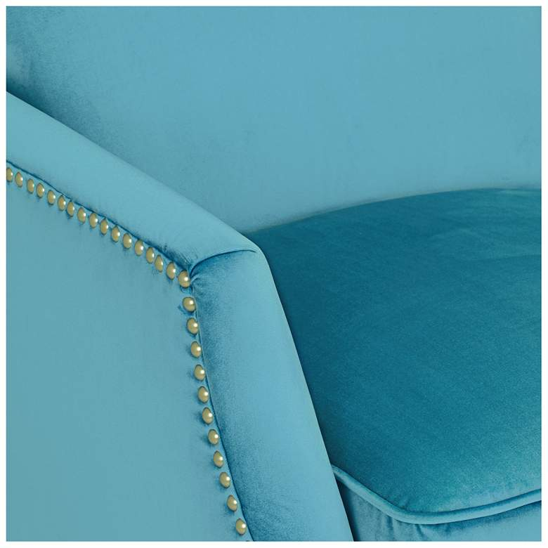 Katy Turquoise Velvet Push Back Recliner Chair more views