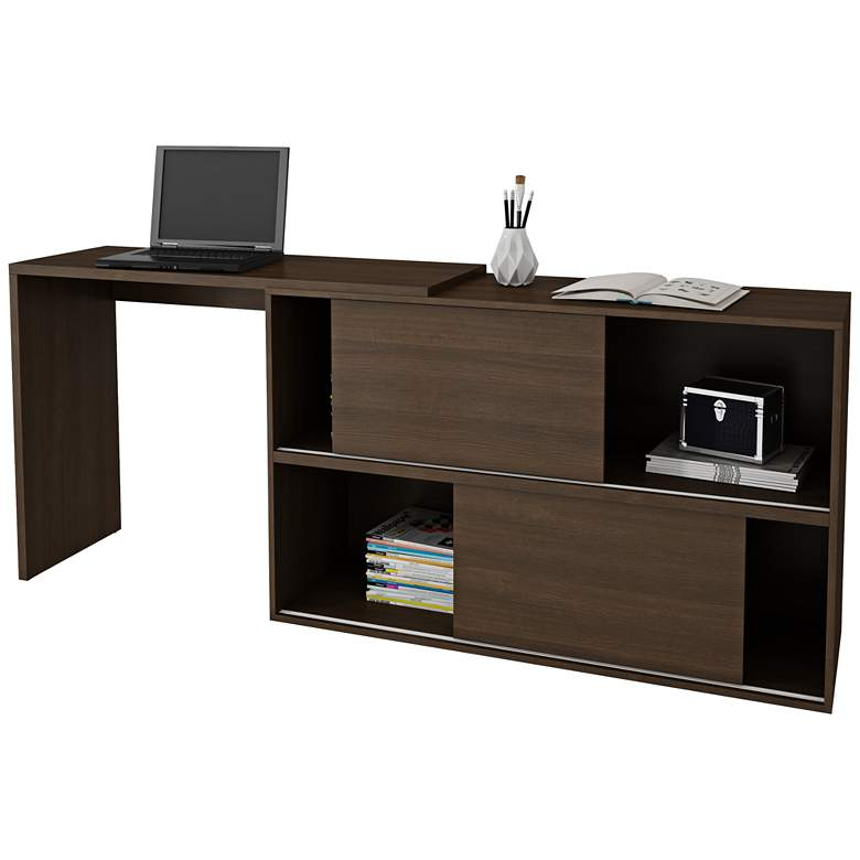 "Bari 42 1/4"" Wide Tobacco Wood 2-Door Bookcase Desk more views"