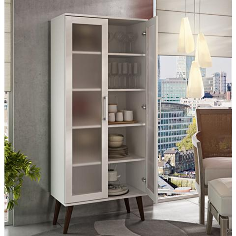 Serra 2.0 White Wood 2-Door Bookcase with Splayed Legs