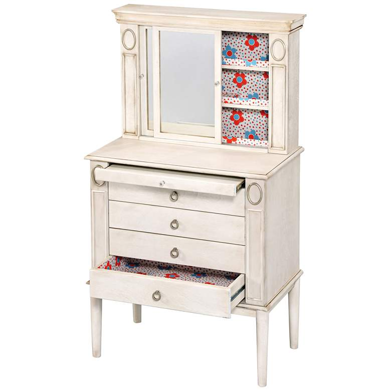"Leven 49"" High White Mirrored Door Jewelry Armoire Vanity  more views"