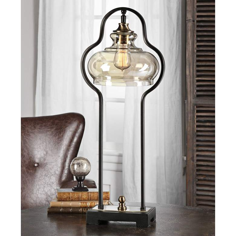 Uttermost Cotulla Aged Black Iron Buffet Table Lamp more views