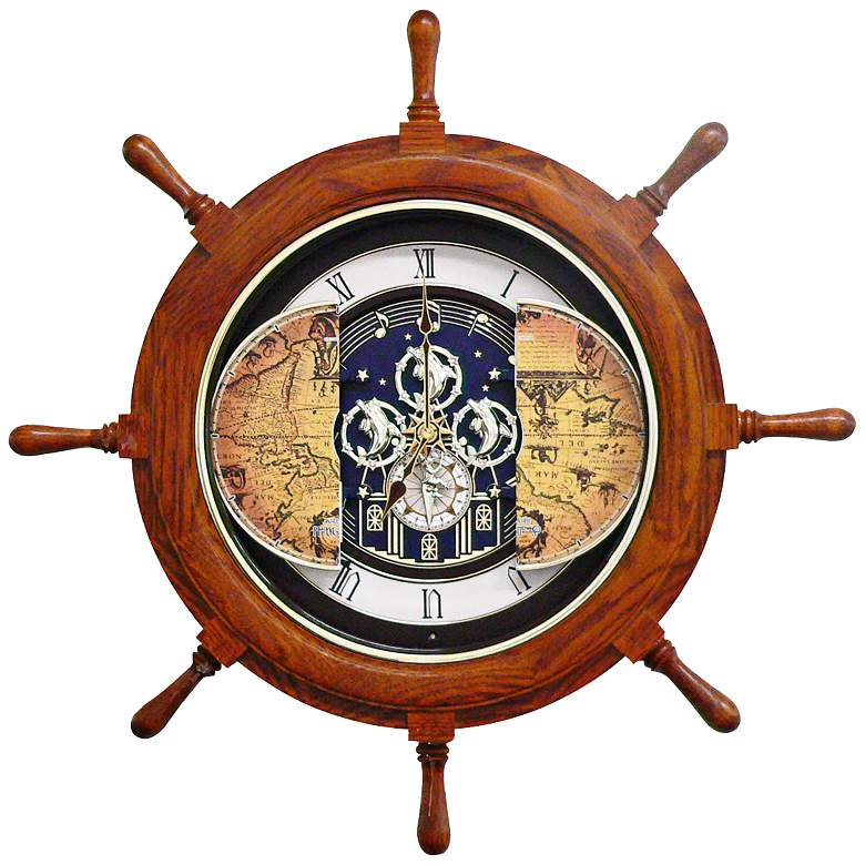 "Voyager 25"" Ships Wheel Musical Motion Wall Clock more views"