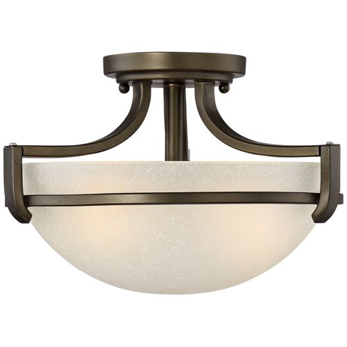 "Mallot 13"" Wide Bronze and Champagne Glass Ceiling Light"