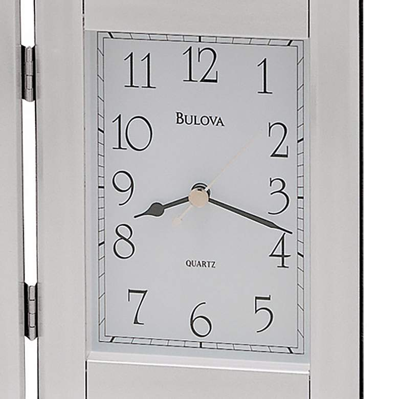 "Bulova Forte II Silver 9"" Wide Picture Frame Table Clock more views"