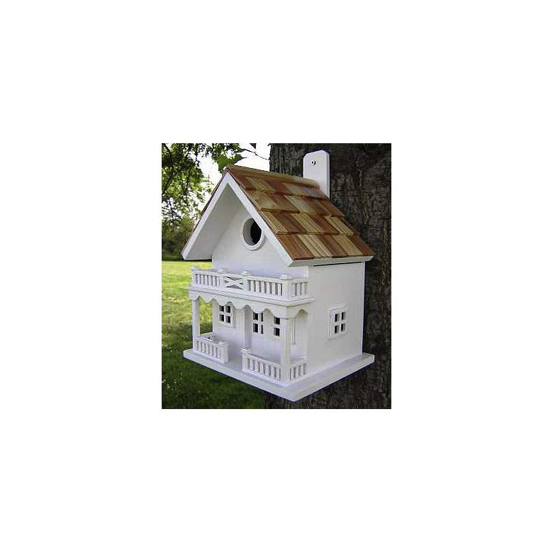White Two-Story Cottage Bird House more views