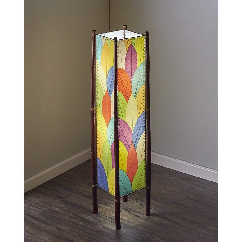 Eangee Fortune Multicolor Cocoa Leaves Tower Floor Lamp more views