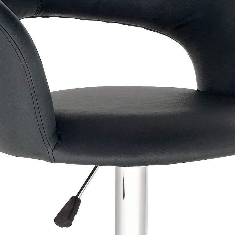 Groove Black Faux Leather Adjustable Swivel Bar Stool more views