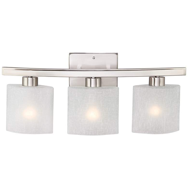 "Possini Euro Linen Glass 23 1/2""W Brushed Nickel Bath Light more views"