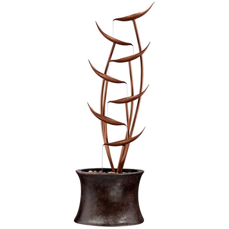 "Tiered Copper Leaves Indoor Outdoor 41"" High Fountain more views"