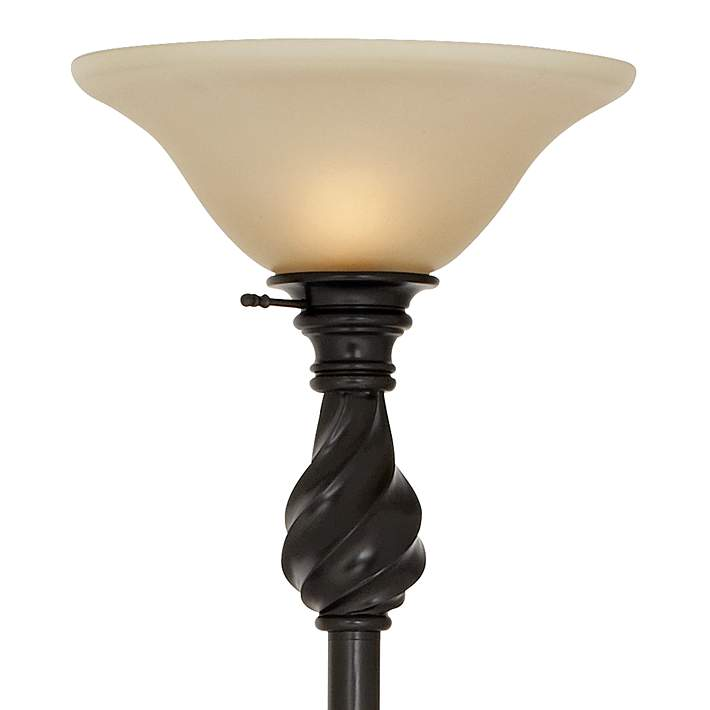Restoration Bronze Torchiere Floor Lamp With Amber Glass N1064