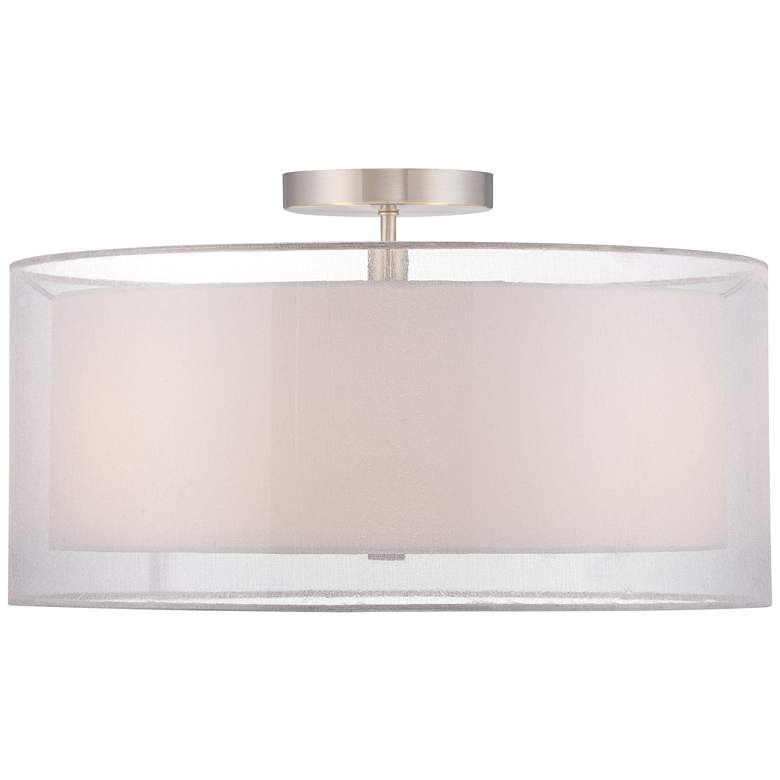 "Possini Euro Double Drum 18"" Wide White Ceiling Light more views"