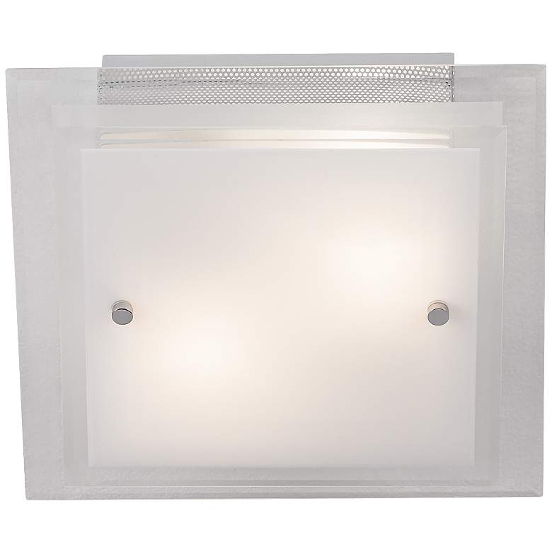 Frosted Glass and White Square Flushmount Ceiling Light more views