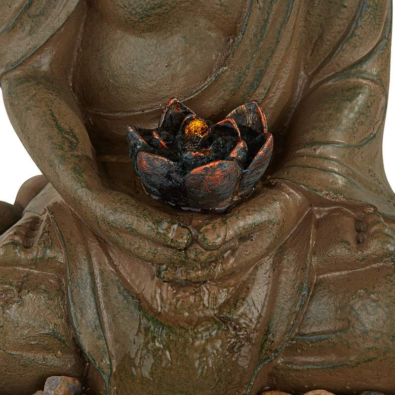 "Meditating Buddha Antique Bronze 18.5""H LED Lighted Fountain more views"