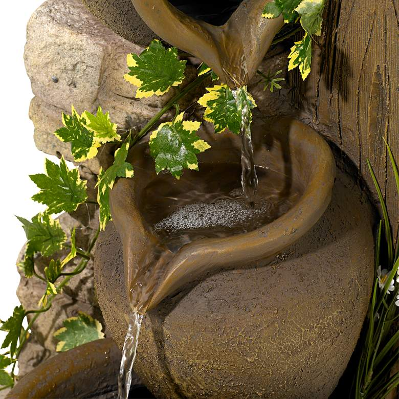 "Cascading 33"" High Three Jugs Rustic Fountain more views"