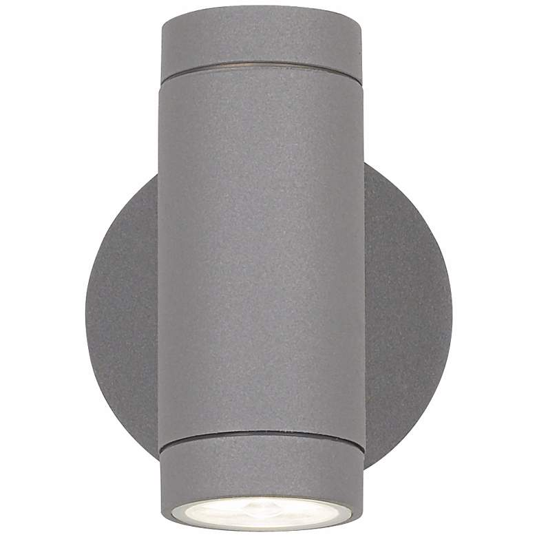 Possini Euro Matte Silver Outdoor LED Up and Down Wall Light more views