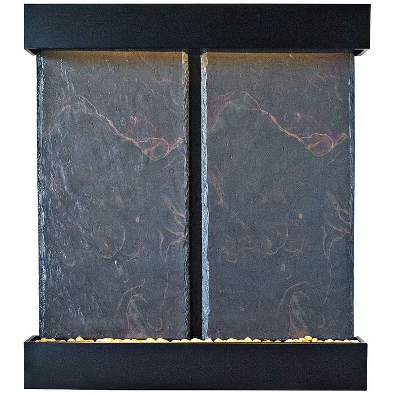 "Nojoqui Falls Double Black 57 1/2"" High Water Wall Fountain more views"