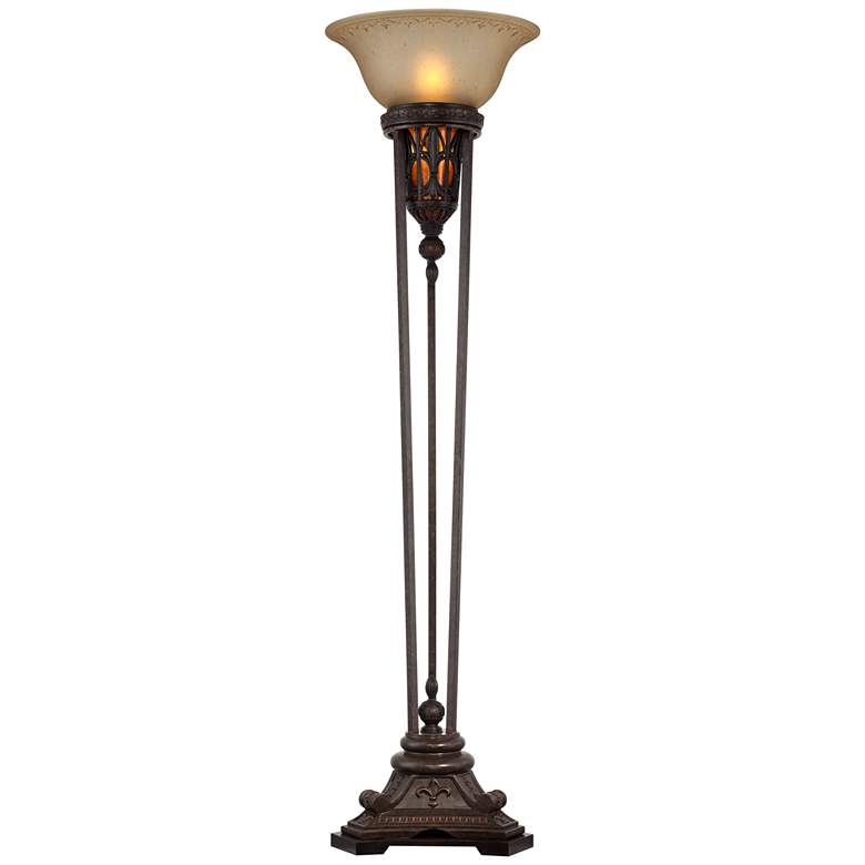 Fleur-de-Lis Champagne Glass and Bronze Torchiere Floor Lamp more views