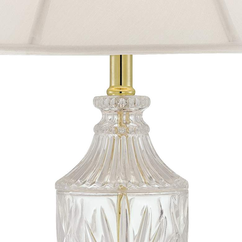 Traditional Cut Glass Urn Table Lamp with Brass Accents more views
