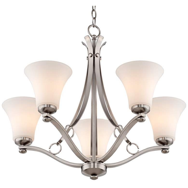 "Bollyn Nickel White Glass 26 1/2""W 5-Light Chandelier more views"