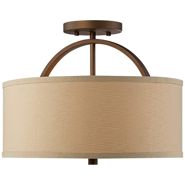 "Possini Euro Halsted 15"" Wide Brushed Bronze Ceiling Light more views"