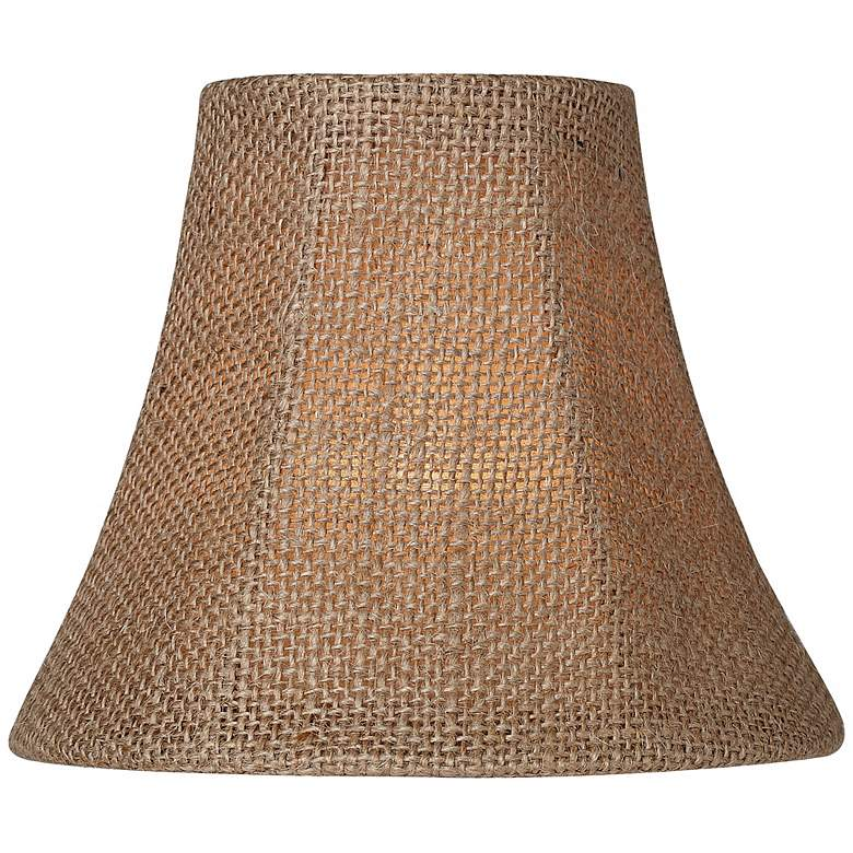 Natural Burlap Bell Lamp Shade 3x6x5 (Clip-On) more views